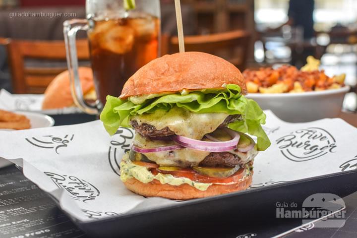 Five Double Burger, o cheese salada duplo - Five Burger