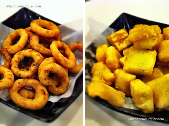 Porção de onion rings e mandioca cremosa