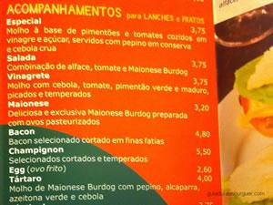 Cardápio de hambúrgueres de acompanhamentos - Burdog