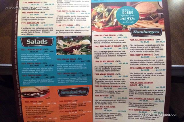Salads, Sandwiches e Hamburgers - Mustang Sally