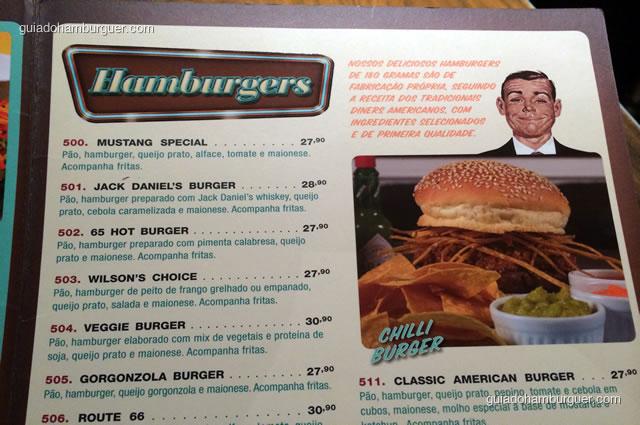 Hambúrgueres em seus preços convencionais - Mustang Sally