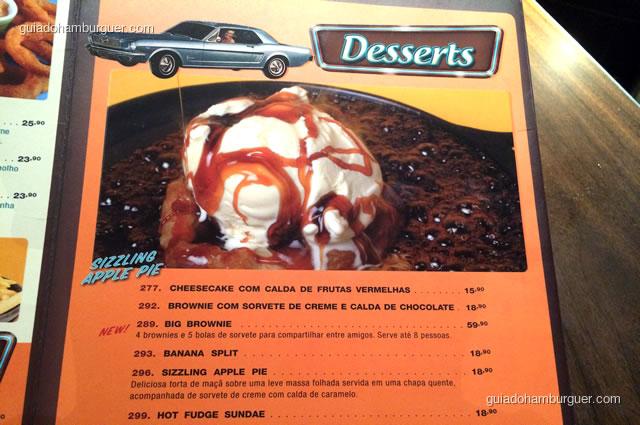 Cardápio das sobremesas - Mustang Sally
