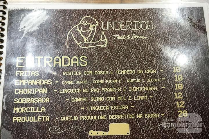 Cardápio de entradas - Underdog