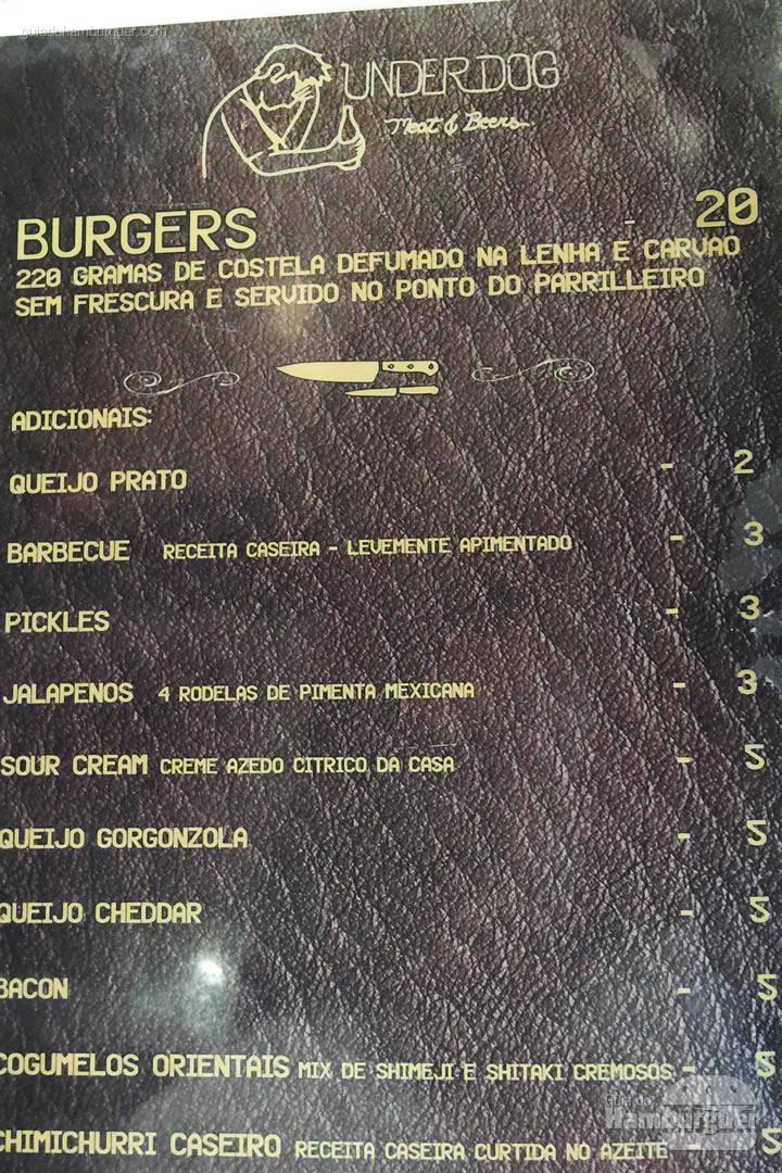 Cardápio de hambúrgueres - Underdog