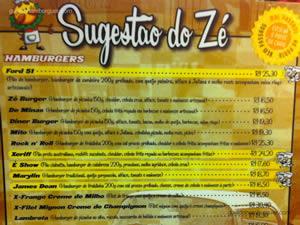 Cardápio - Zé do Hamburger