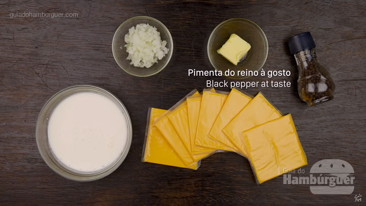 Ingredientes - Receita de molho de cheddar cremoso para hambúrguer e fritas