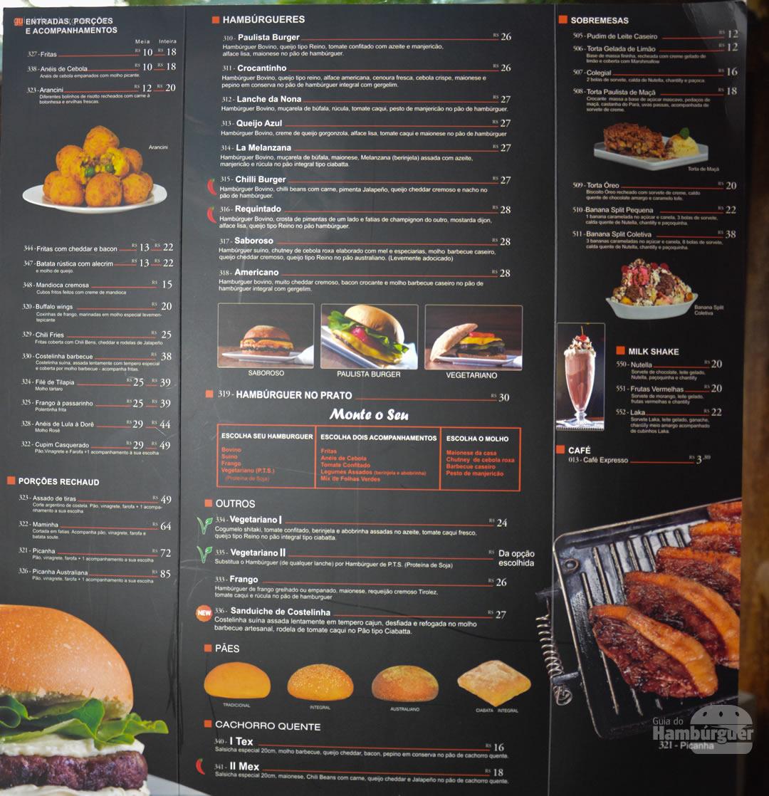 Cardápio completo - Paulista Burger em São José dos Campos