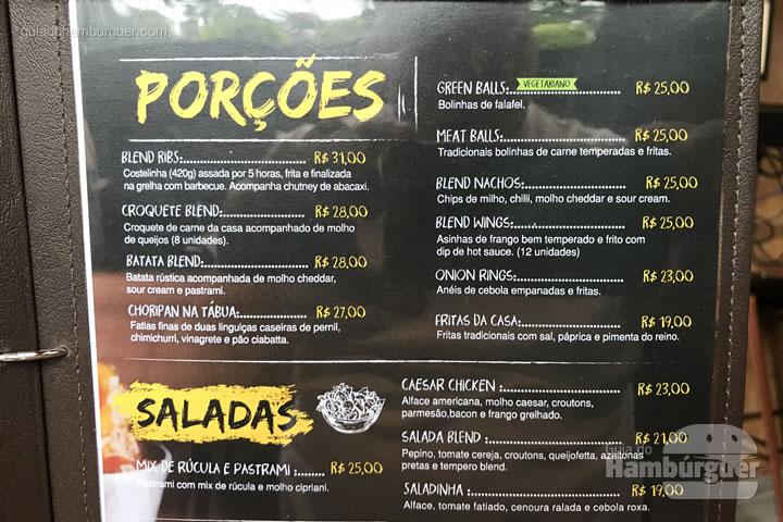 Cardápio - Blend Burger Bar