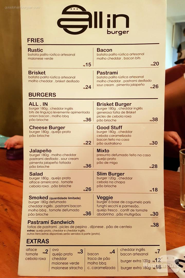 Cardápio - ALL IN .burger