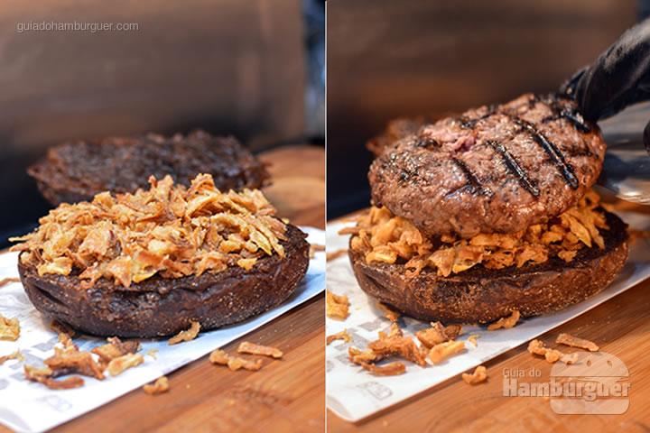 Base do pão com cebola crispy - Stage Burger