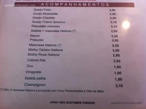 Cardápio - Nations Burgers & Salads