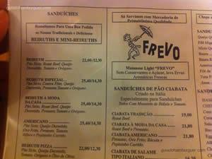 Cardápio - Frevo